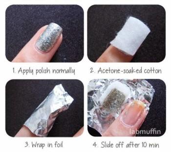 卸除指甲油-铝箔法